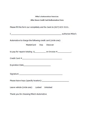 credit card authorization form download